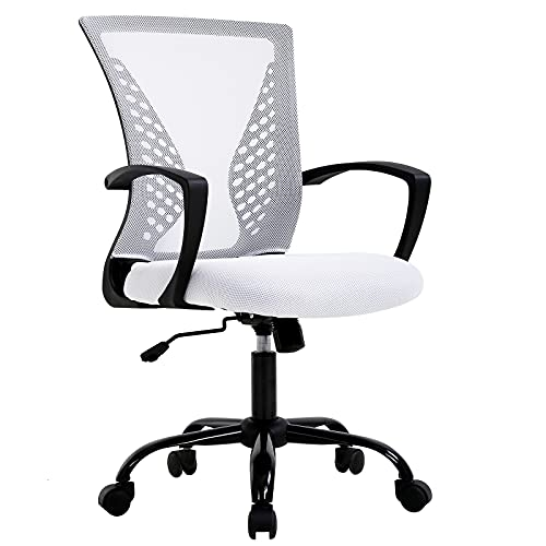 TYNB Conference Room Chairs Home Office Chair Office Chair Ergonomic Desk Chair Mesh Computer Chair with Lumbar Support Armrest Mid Back Rolling Swivel Adjustable Task Chair Cute Desk Chair, White