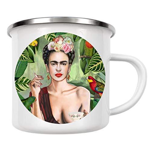artboxONE Emaille Tasse Frida Con Amigos von Nettsch - Emaille Becher Menschen