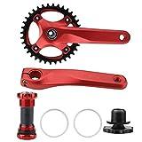Accesorio para Brazo de manivela de una Sola Velocidad de aleación de Aluminio para Juego de bielas para Ciclismo de Bicicleta de montaña(Red)