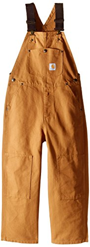 Carhartt Boys' Big Bib Overalls (Lined and Unlined), Brown Duck, 16