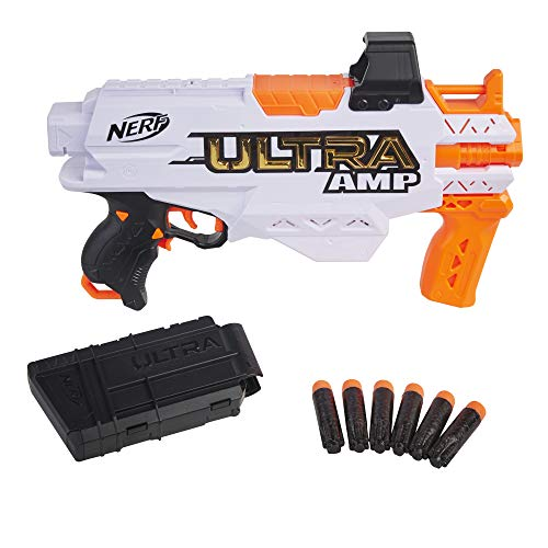 NERF Ultra Amp Motorized Blaster, 6-Dart Clip, 6 Ultra Darts, Compatible Only Ultra Darts