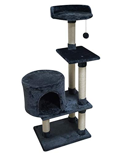 FISH&NAP US06YH Cat Tree Cat Tower Cat Condo Sisal Scratching Posts with Jump Platform Cat Furniture Activity Center Play House Grey