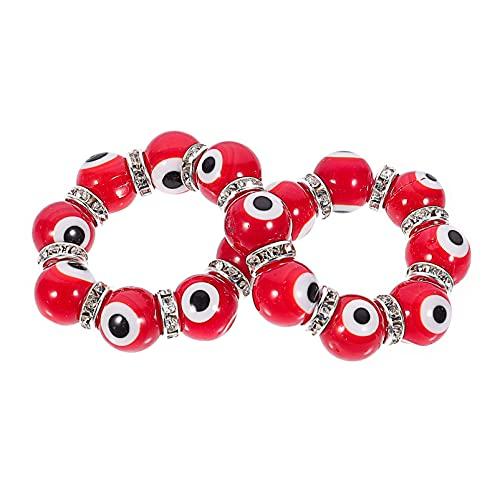 Happyyami Pulsera de Ojo Malvado Rojo con Cuentas Cadena Trenzada Amuleto de La Buena Suerte Brazalete Nazar Joyería de Símbolo Religioso Turco de La Suerte
