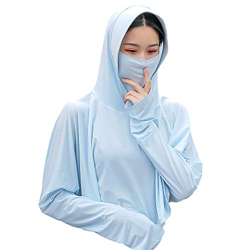 Sun Hoodies UV Protection - UPF 50+ Sun-proof Clothing w/Ear Hoop Mask, Gift for Women, Girl, Running, Cycling, Fishing (Candy Blue Hoodies)