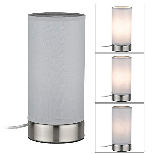 Paulmann 77058 Tischleuchte Pia max. 25 Watt Tischlampe Weiß, Eisen gebürstet Wohnzimmerlampe Metall, Stoff Nachttischlampe E14