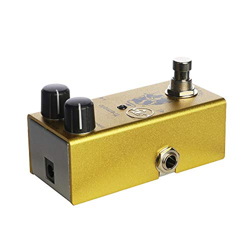 Muslady Pedale effetto chitarra tremolo con manopole di controllo ABS per chitarre elettriche,DC 9V,giallo