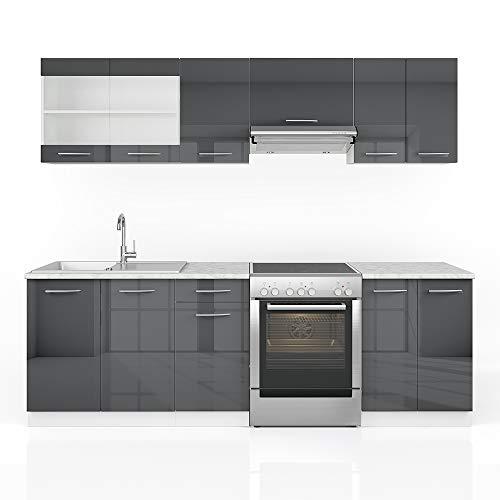 Cucina Vicco Raul Cucina componibile Blocco cucina Cucina su misura 240 cm Antracite lucido