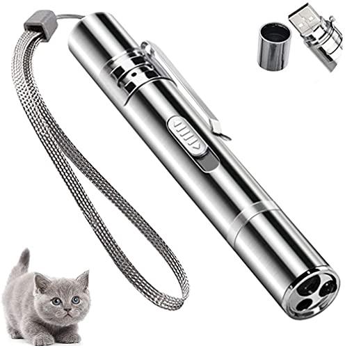 YYLE Cat Toys - Puntero LED recargable por USB, función 7 en 1, mini linterna de luz roja UV, ejercicio interactivo con múltiples patrones para mascotas