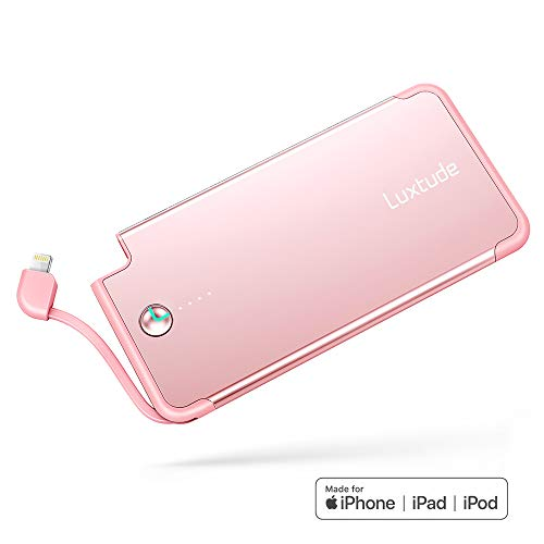 Luxtude PowerEasy 5000mAh Ultra Slim Portable Charger for iPhone, Apple Certified Power Bank with Built in Lightning Cable, Fast Charging External Battery Pack for iPhone11/XS/XR/X/8/7/6S(Rose Gold)