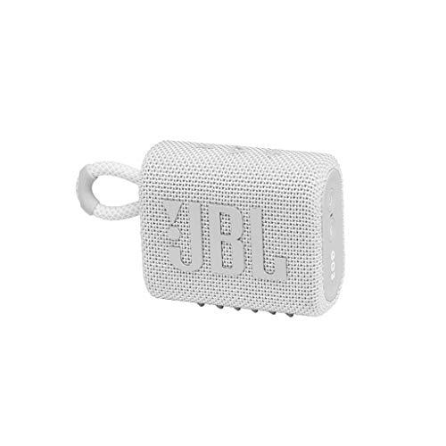 JBL GO 3 kleine Bluetooth Box in Weiß – Wasserfester, tragbarer Lautsprecher für unterwegs – Bis zu 5h Wiedergabezeit mit nur einer Akkuladung