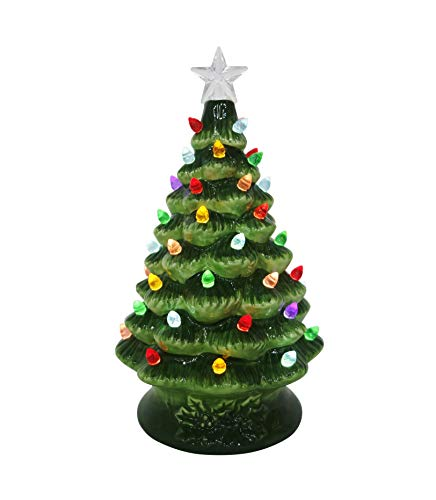 ReLIVE Ceramic 8 Inch Green Christmas Tree with Multicolor Lights with Music