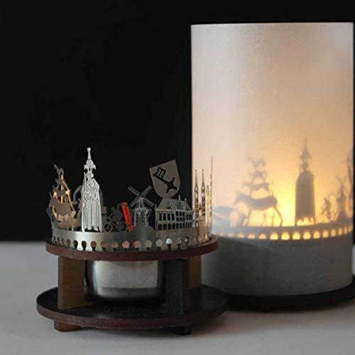 13gramm Bremen-Skyline Windlicht Schattenspiel Premium Geschenk-Box Souvenir, inkl. Kerzenhalter, Kerze, Projektionsschirm und Teelicht