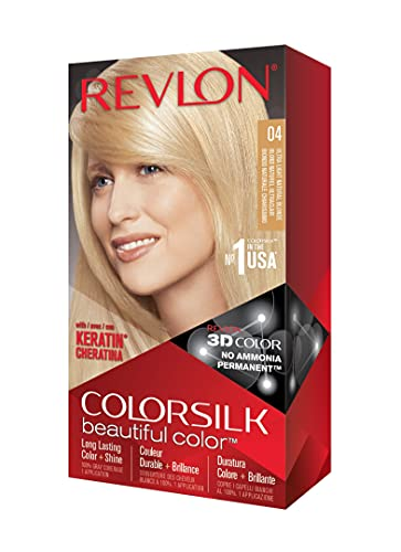 REVLON Colorsilk Beautiful Color Permanent Hair Color with 3D Gel Technology & Keratin, 100% Gray Coverage Hair Dye, 04 Ultra Light Natural Blonde
