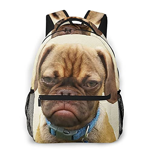 Yaxinduobao Puppy'S Quirky Emotional Face Mochila de viaje Unisex Travel Backpack Laptop Bag Computer Bag Work Backpack Gym Sports Bag 11.5x16 In
