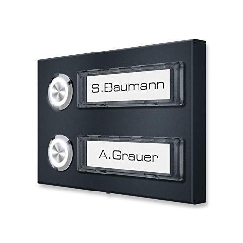 Metzler Aufputz Mehrfamilien-Klingel in Anthrazit - optional LED-Klingeltaster und Namenschildbeleuchtung - Namensschild austauschbar - RAL7016 - Maße: 120 x 80 x 11 mm (Anthrazit RAL 7016)
