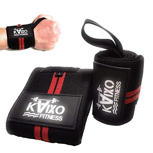 Kaixo Fitness Fasce Polso/Fasce Palestra/Polsiere Palestra/Sollevamento Pesi, WODs, Bodybuilding/Wrist Wraps/Uomo Donna/Tutore Infortuni Tendinite (Rosso)