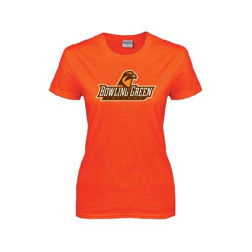 CollegeFanGear Bowling Green State Ladies Orange T Shirt 'Bowling Green Falcons w/Falcon' - Medium