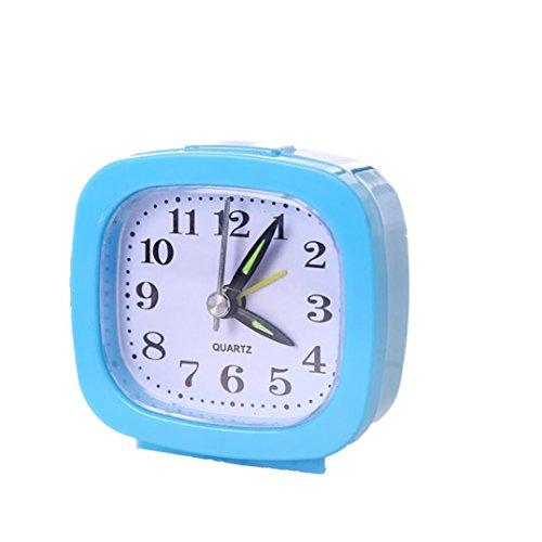 FIN86 Travel Alarm Clock, Silent Desk Bedside Travel Alarm Clock,Cute Silent Alarm Clock, Compact Travel Quartz Beep Alarm Clock, for Student Children (Sky Blue)