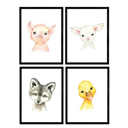 Pack de Cuatro láminas con Ilustraciones de Animales. Posters con imágenes Infantiles de Animales. Pato Cabra Cerdo y Zorro. Tamaño A4 sin Marco…