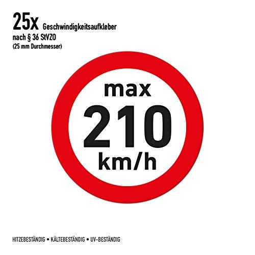 Geschwindigkeitsaufkleber 25x Winterreifen 210 km/h 2,5cm Durchmesser (transparent)