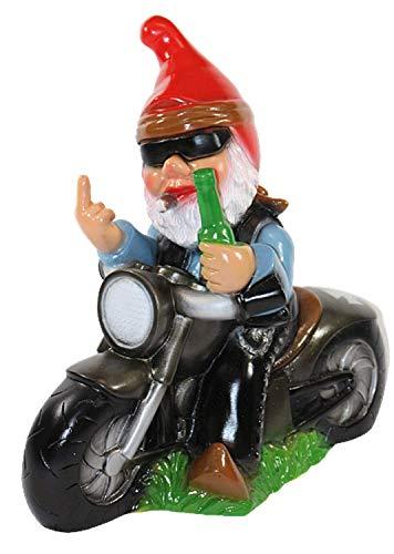 Figura decorativa de enano de jardín en moto con dedo de ladrillo, de plástico, 33 cm de alto
