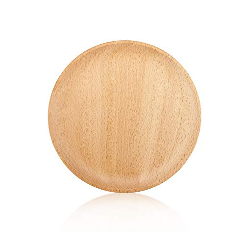 YFWOOD Wooden Plates, Wood Dinner Plates 7.95'' Round Serving Trays Classic Charger Plates for Dishes Snack Dessert Steak Fruit Salad Platter Decorative Plates for Table (1 PC)