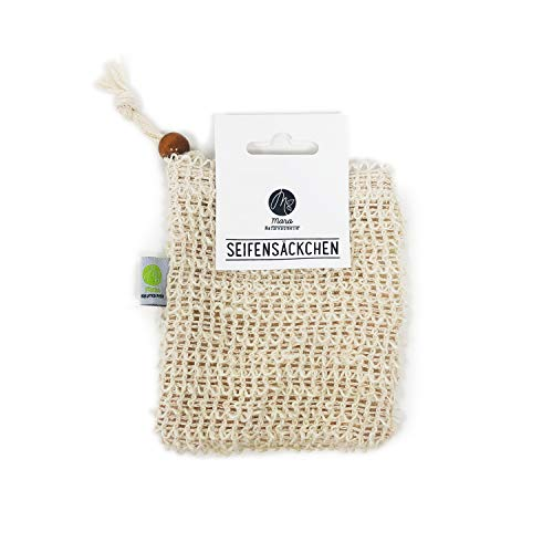 Mara Seifensäckchen - Aufschäumen und Trocknen der Seife - 100% Vegan - Seifennetz für Körper-Peeling und Massage, 1 Stück, 20 g