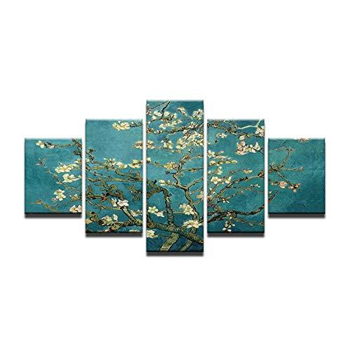 XXSCZ 5 Canvas foto's schilderij Home Decor Modular 5 Panel Abstracte blauwe perzik boom HD Canvas fotolijstjes muurkunst gedrukte poster voor de woonkamer 30 x 40 30 x 60 30 x 80 cm met frame.