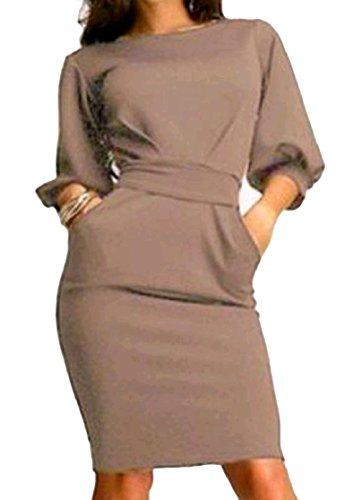 DressUWomen Damen große taschen fashional trim - fit-arbeits-büro laterne ärmel tunika midi bleistift-kleid 2XL Pattern1