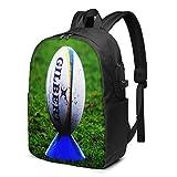 Sac à Dos Homme Femme Ordinateur Portable 17 avec Port De USB Voyage Affaires École Ballon de Rugby sur t-Shirt de Frappe
