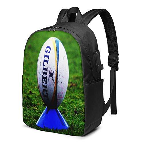 Laptop Rucksack Business Rucksack für 17 Zoll Laptop, Rugby Ball auf Kicking Tee Schulrucksack Mit USB Port für Arbeit Wandern Reisen Camping, für Herren Damen