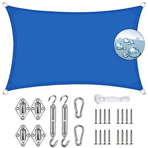 Velas de Sombra para Patio 5x5m Toldos IKEA Impermeable Kit de Fijación para Exteriores, jardín, Azul