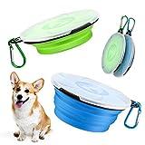 XINDA 2 comederos porttiles de viaje para perros, plegables, con tapa y mosquetn para viajes (azul y verde)