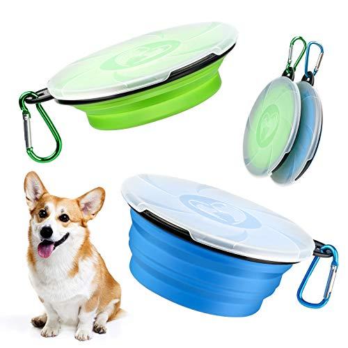 XINDA 2 Stück Tragbar Hund Reisenäpfe Faltbare Hundenapf Faltbare Hundenapf Mit Deckel Tragbare Hundenapf Deckel und Karabiner für Unterwegs Camping(Blau und Grün)