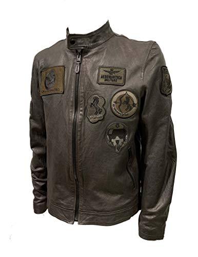 Aeronautica Militare Giubbotto pelle PN5011PL con patch, da uomo, Marrone Fumo, Pilota, giacca, giubbino (L)