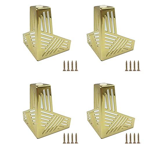 Metallmöbel Sofabeine, 4 Stück Moderne Sofabeine, Metall Möbelfüße, Kreismuster, für Sofabeine Tischbeine Bettbeine Couchtischbeine Stühle Hocker Couchtische Beine (Golden)