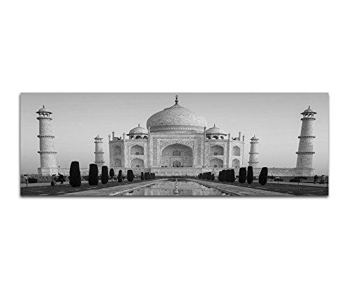 Canvas foto als panorama ZWART/WIT 150x50cm India Taj Mahal water spiegeling
