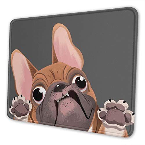 Cartoon French Bulldog Mouse Pad with Stitched Edge,Washable Computer Mousepads,Non-Slip Rubber Base Mouse Mat for Computers, Laptop, Office & Home,10 X 12 Inch