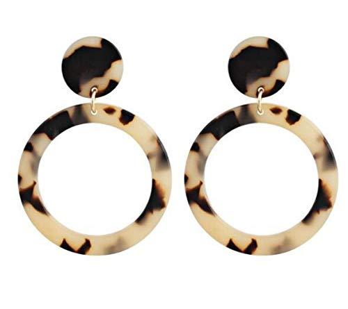 Pendientes con estampado de leopardo de placa de acetato de acrílico geométrico exagerado Pendientes circulares de moda de gran venta-Gris claro