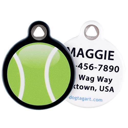 Dog Tag Art Custom Pet ID Tag for Dogs - My Tennis Ball - Large - 1.25 inch