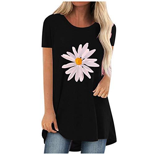 T-Shirt Damen Lässige Sonnenblume Druck Hemden Kurzarm Loose Tee Tops Langes Tunika Bluse Sommer Rundhals Oversize Tshirt Oberteile Teenager Mädchen Coole Tshirts Sport Tshirt