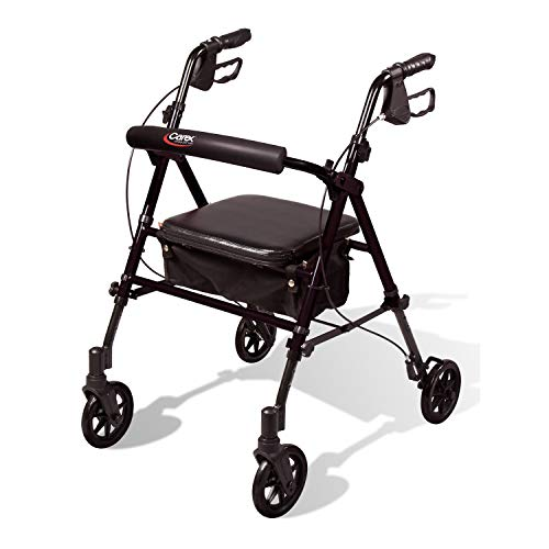 Carex Step 'N Rest Aluminum Rollator Walker with Seat, Black - Rolling Walker for Seniors with Back Support, 6 Inch Wheels, 250lbs Support, Lightweight Folding Walker