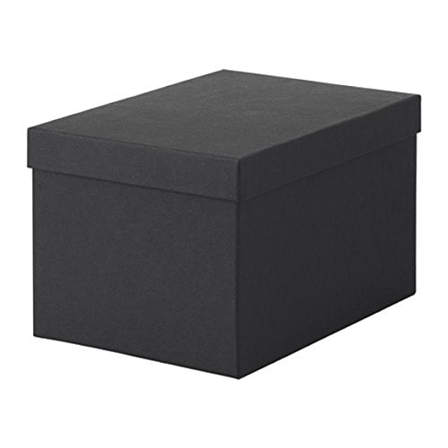 Ikea 603.954.85 - Caja de Almacenamiento con Tapa (Tamaño 7 x 9 x 6 cm), Color Negro