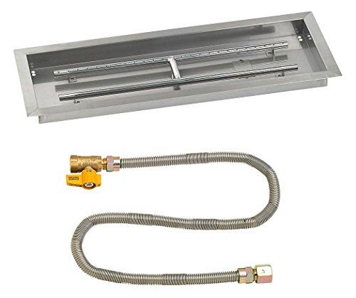 """American Fireglass 30"""" X 10"""" Rectangular Drop-In Pan with Match Light Kit - Natural Gas"""