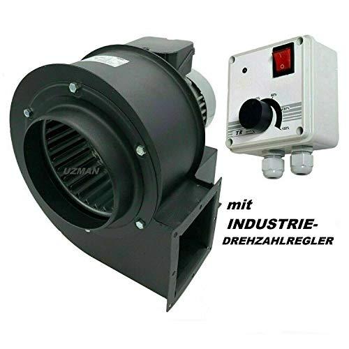 Uzman-Versand OBR-200M Radialgebläse mit 400 Watt Industrie-Drehzahlregler, Radial Zentrifugalventilator Saugventilator Radiallüfter Ventilator Gebläse Kühlung Radialventilator Wandventilator