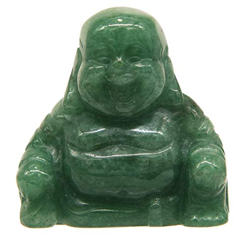 June&Ann Green Aventurine Pocket Happy Buddha Statue, Laughing Happy Buddha Feng Shui Figurine Healing Crystal Gemstone Home Decoration for Wealth and Good Luck - 1.5'