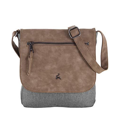 Prato Damen UmhängetascheJoyce Flanel modische Schultertasche für Frauen, Freizeittasche mit Überschlag (28x29x6,5cm) (cognac ice)