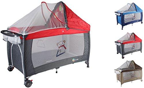 Clamaro 'Dream Traveler' Kinder Baby Reisebett (6 Farben) zusammenklappbar, höhenverstellbar, Kinderreisebett mit Einhang, Faltmatratze (2cm dick), Moskitonetz, Wickelauflage - Farbe: rot grau