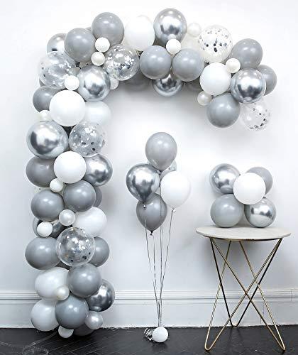 Light Grey Metallic Silver White Balloon Garland Arch Kit 110Pcs Chrome Confetti,Tying Tools+Decorating Strip+Points Stickers+Flower Clips+Ribbon DIY Wedding Decoration Kits Birthday Party