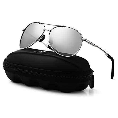 MXNXEU Sonnenbrille Herren Pilotenbrille Polarisiert Pilotenbrille Polarisierte Sonnenbrille Herren Outdoor Pilot Unisex UV400 Fahren Sonnenbrille-Silber/Silber